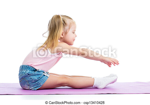 Kid girl doing fitness exercises - csp13410428