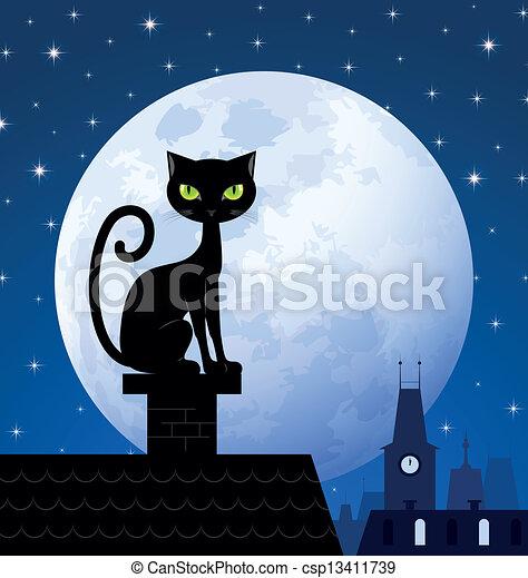 Vector , gato, negro, luna