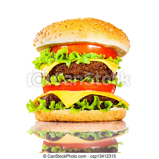Tasty and appetizing hamburger on a white - csp13412315
