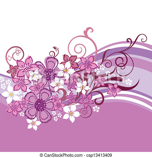 Pink flowers banner isolated - csp13413409