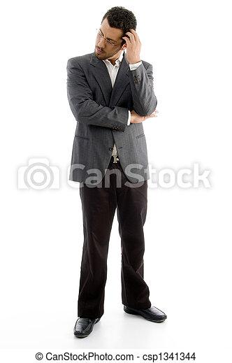 standing thinking executive with eyewear - csp1341344