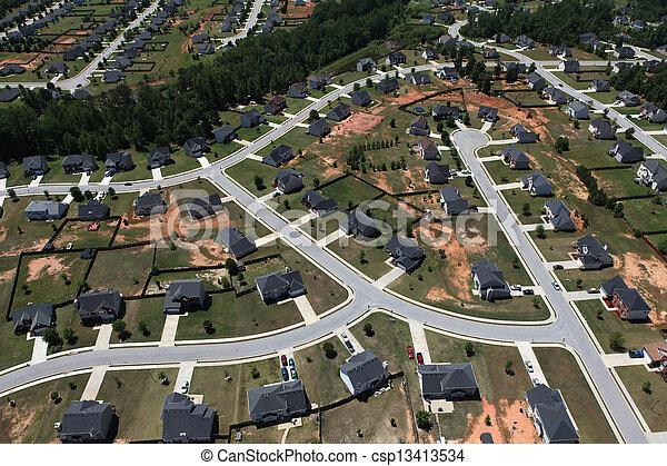 Suburban Streets Aerial - csp13413534
