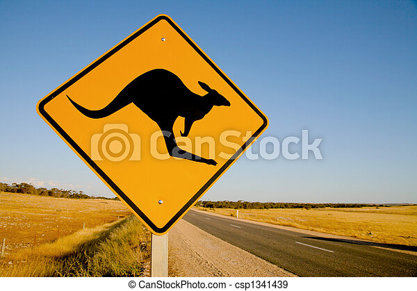 Kangaroo warning sign Australia - csp1341439