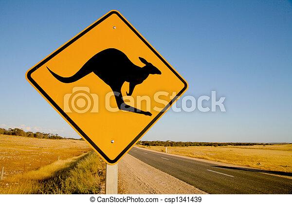 Kangaroo warning sign Australia - csp1341439