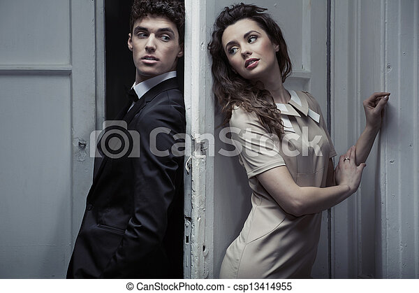 Portrait of young elegant couple - csp13414955
