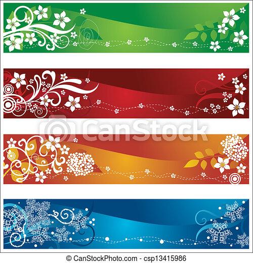 vektor von vier jahreszeiten banner blumen schneeflocken design csp13415986 suchen. Black Bedroom Furniture Sets. Home Design Ideas