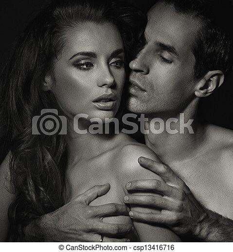 foto, pareja, joven, black-white, dormitorio - csp13416716
