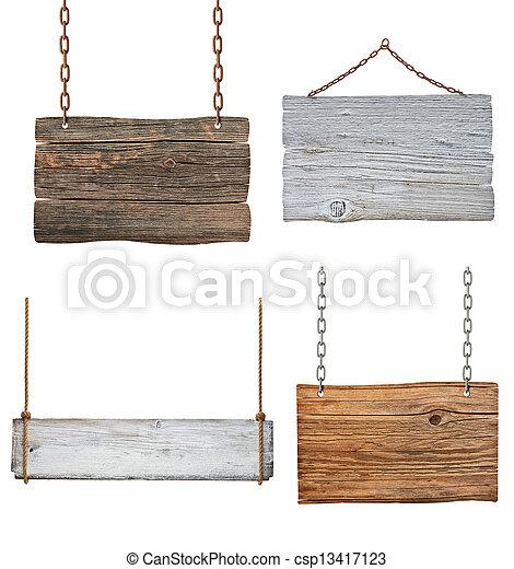 鎖, 木製である, 印, ロープ, 背景, 掛かること, メッセージ - csp13417123