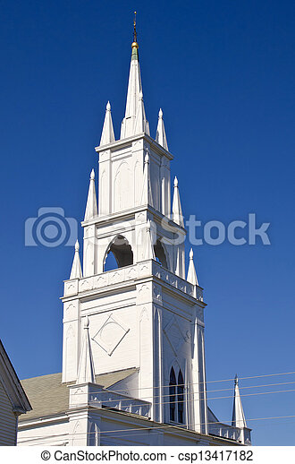 Steeple of a historic church - csp13417182