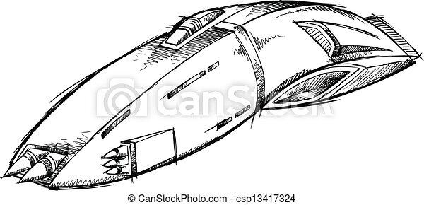 Illustration vecteur de croquis vecteur art vaisseau spatial ovnis spaceship - Dessin vaisseau spatial ...