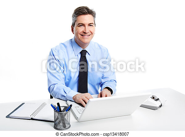 Businessman with laptop computer. - csp13418007