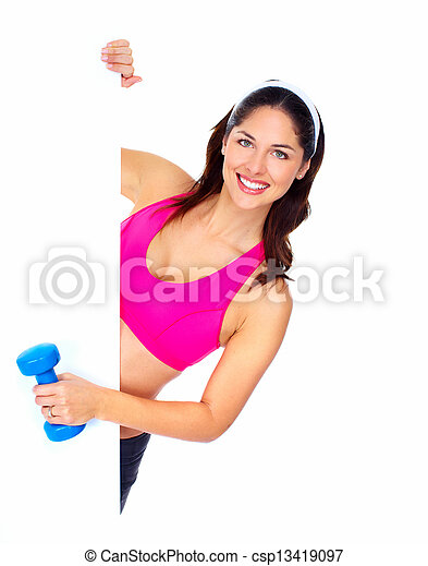 Young beautiful fitness woman. - csp13419097