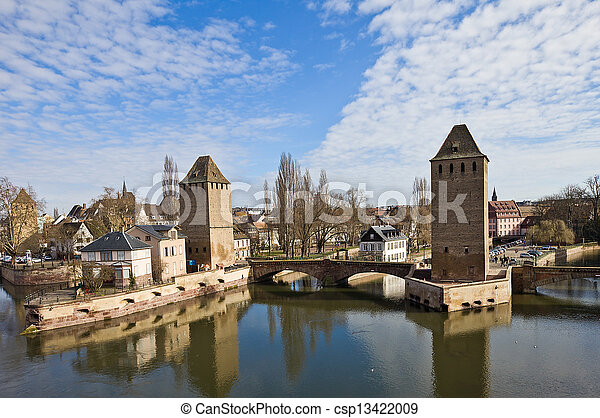 Covered Bridges (Ponts Couverts ). Strasbourg, France - csp13422009
