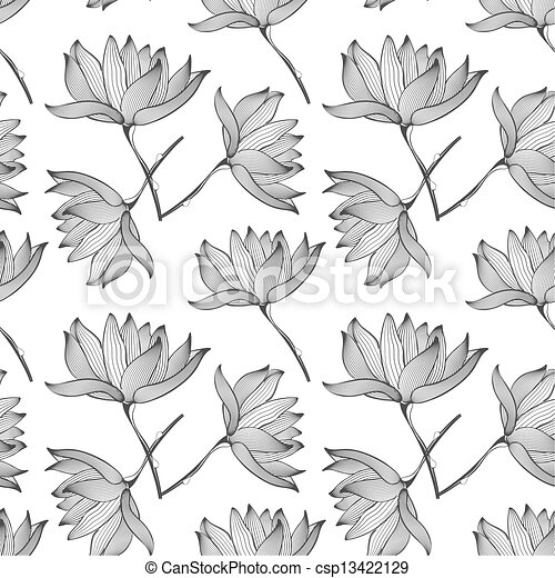 Lotus Flowers Seamless Pattern - csp13422129