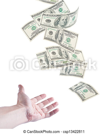 The hand want to catch falling money - csp13422811