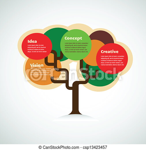 colorful tree with space for text, infographics background - csp13423457