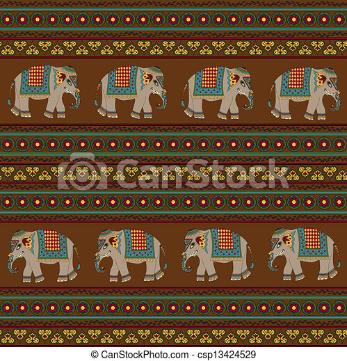 vector illustration of indian pattern with elephant indian elephant face clipart Indian Elephant Clip Art Black and White