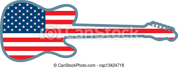 Guitar Shaped U.S. Flag - csp13424718