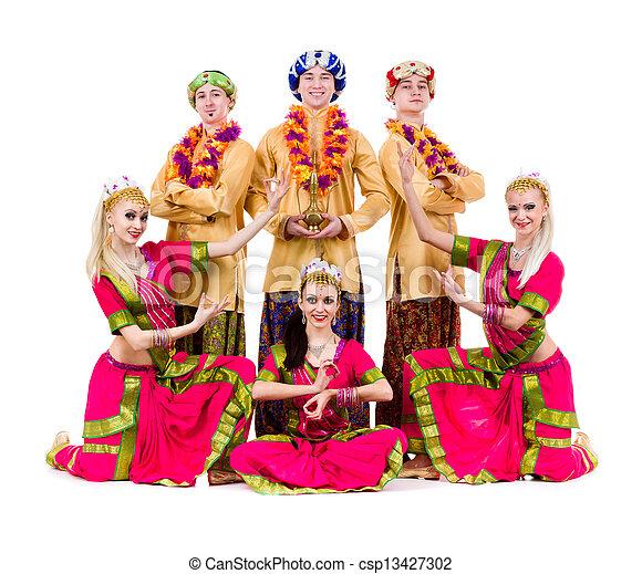dancers dressed in Indian costumes posing - csp13427302
