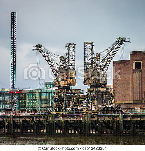 Stock Images of Weathered rusty cranes - Weathered rusty ...