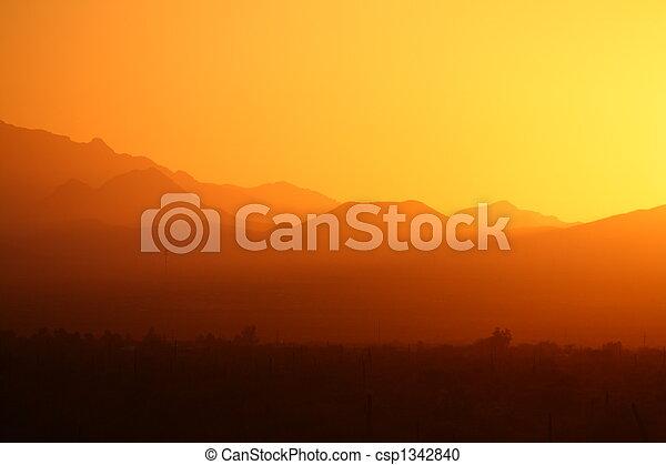 Desert Mountain sunset - csp1342840