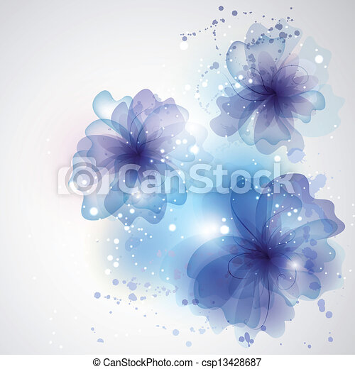 Floral card for design. Background winter swirl and flowers. Car - csp13428687