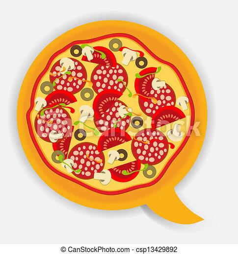 Pizza speech bubble. vector illustration - csp13429892