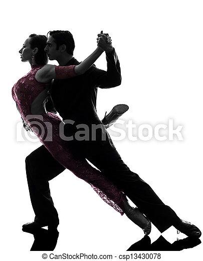 couple man woman ballroom dancers tangoing  silhouette - csp13430078