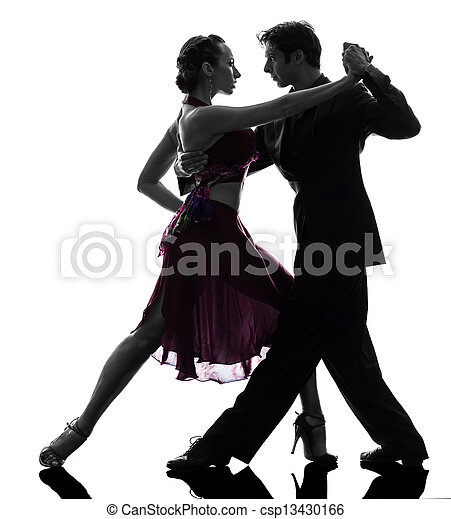 couple man woman ballroom dancers tangoing  silhouette - csp13430166
