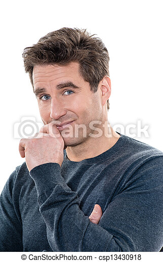 mature handsome man shy portrait  - csp13430918