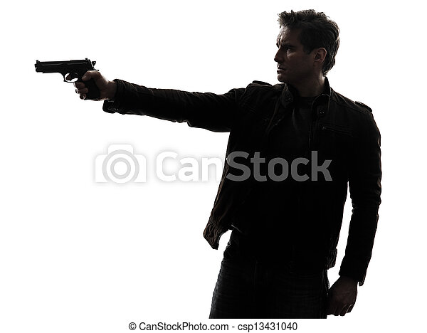 Killer Man With Gun Gun Silhouette One Man