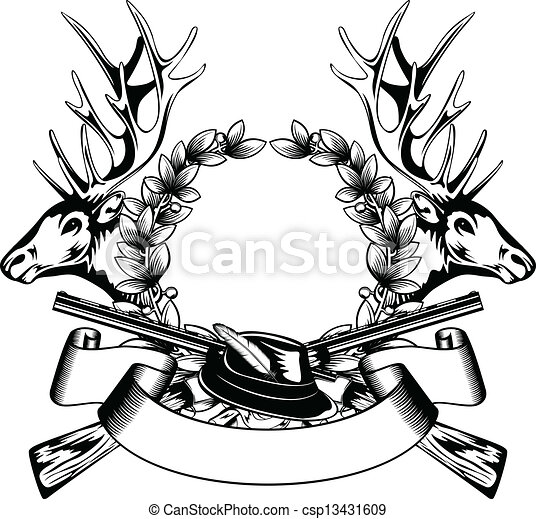 Chasse Cadre Chapeau 13431609 on deer skull drawings