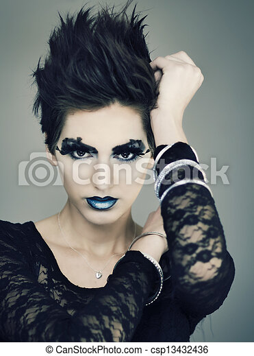 Woman with short stylish hair  - csp13432436