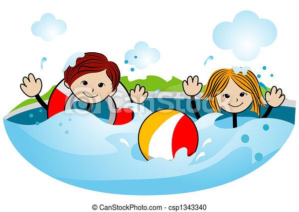 Kids swimming clipart  Kids Swimming Clipart