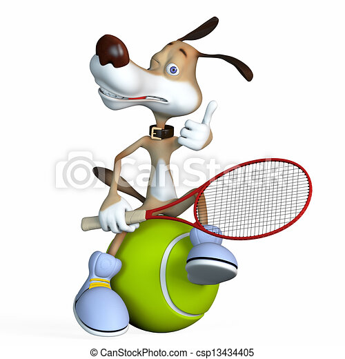 Illustration on a subject a dog the tennis player. - csp13434405