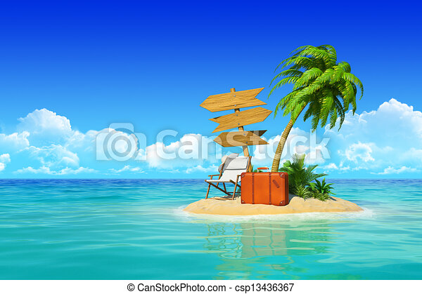 Desert tropical island with palm tree, chaise lounge, suitcase and three empty wooden signpost. Concept for rest, holidays, resort, travel. - csp13436367