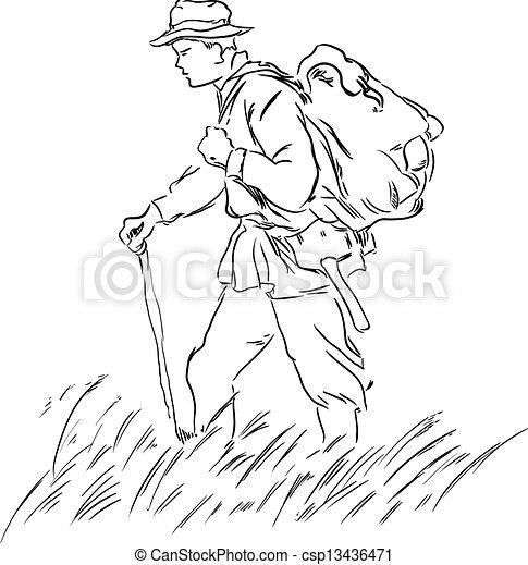 地質学者, バックパック - csp13436471 地質学者, バックパック, 道, ベクトル