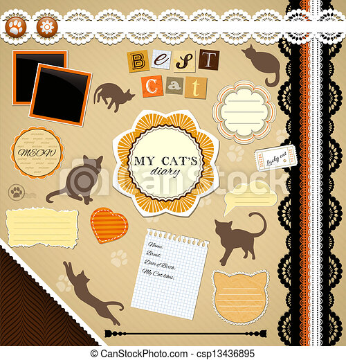 Scrapbooking Set: My Cat's Diary - csp13436895