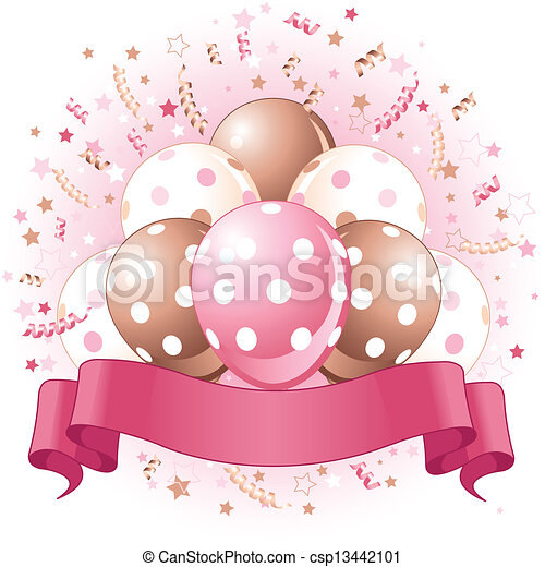 Pink Birthday balloons design - csp13442101