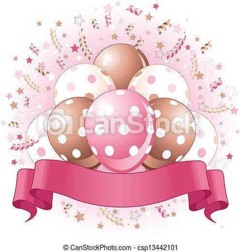 Pink Birthday balloons design - csp13442101