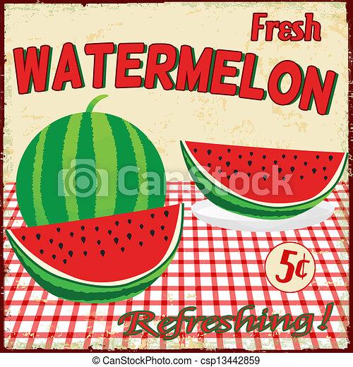Watermelon vintage poster - csp13442859