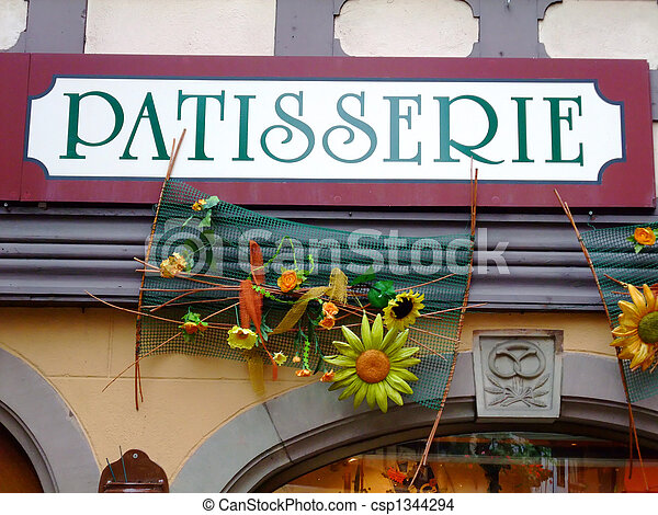 Outdoor sign of a french cake shop - France - csp1344294