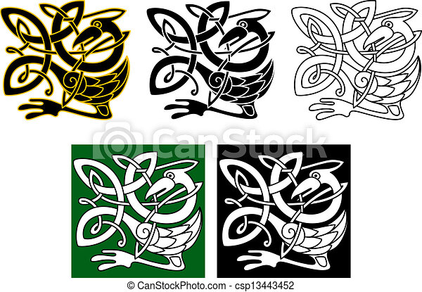 Clipart Vector of Heron bird in celtic ornament for retro or ...
