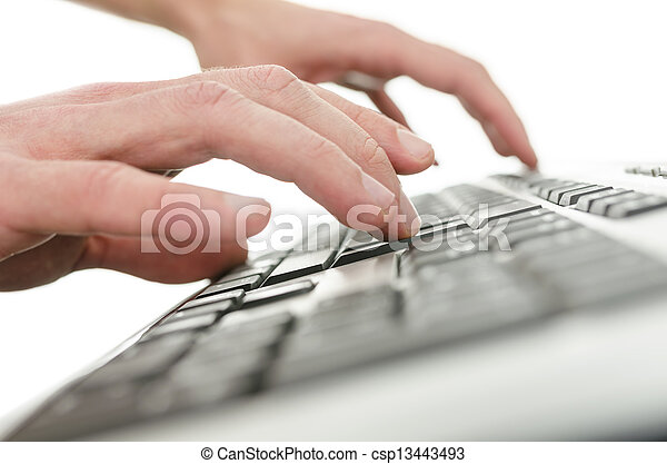 Closeup of  young man hands typing on computer keyboard - csp13443493