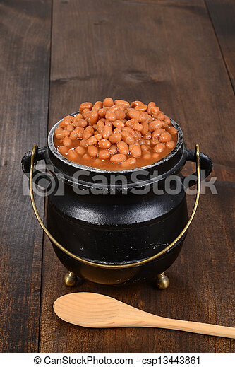 Stock Image of baked beans in pot with spoon on wood csp13443861 ...