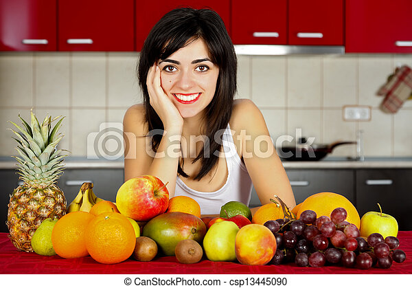 Smiling with Fruits on Table - csp13445090