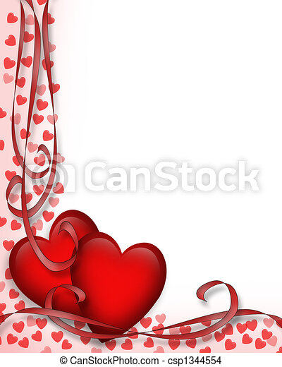 Valentines Day Red Hearts Border - csp1344554