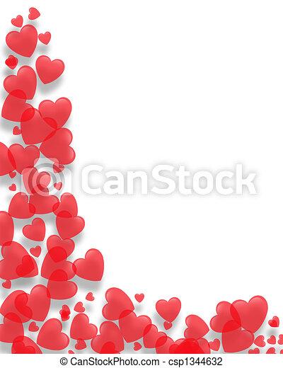 corações, valentines, borda, dia - csp1344632