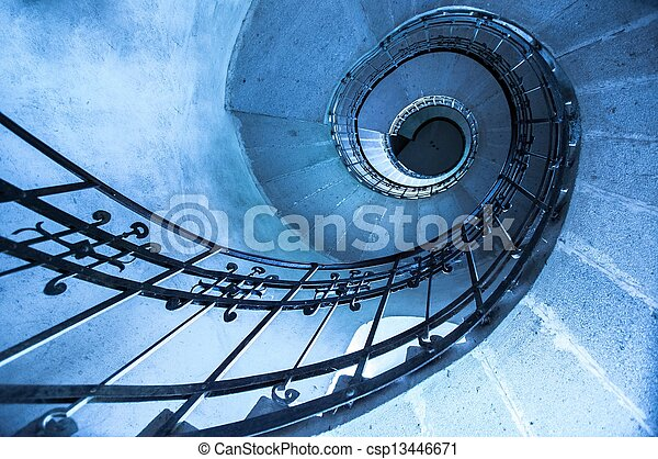 Round stairs in a church - csp13446671