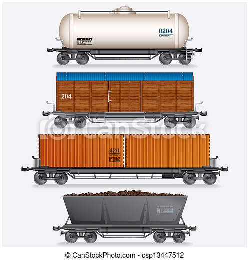 Collection of Train Cargo Wagons, Tanks, Cars. - csp13447512